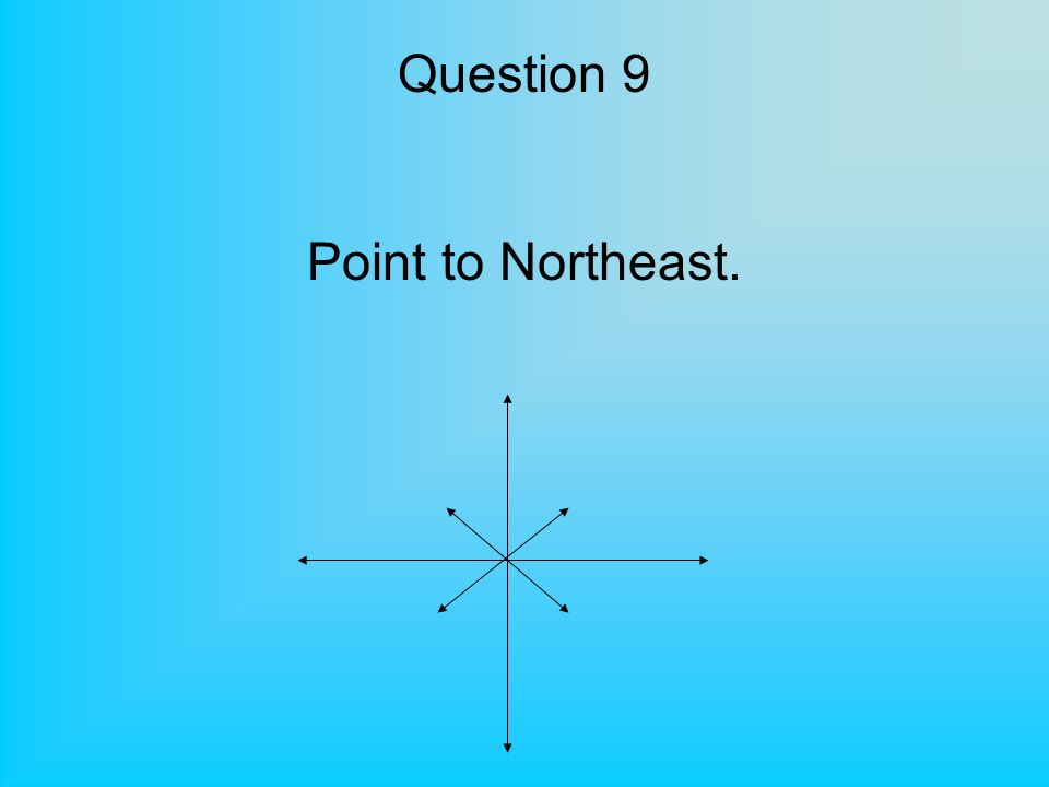 Question 9 Point to Northeast.