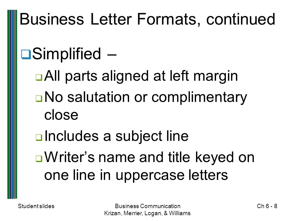 Student slidesBusiness Communication Krizan, Merrier, Logan, & Williams Ch Business Letter Formats, continued  Simplified –  All parts aligned at left margin  No salutation or complimentary close  Includes a subject line  Writer's name and title keyed on one line in uppercase letters