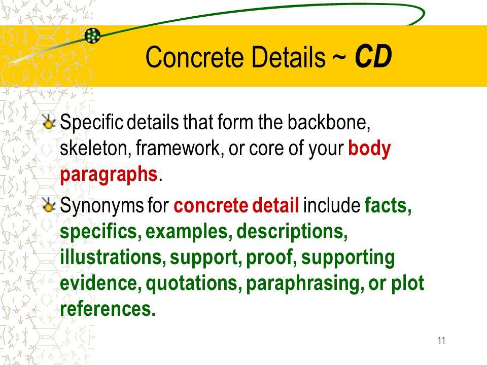 essay writing concrete detail
