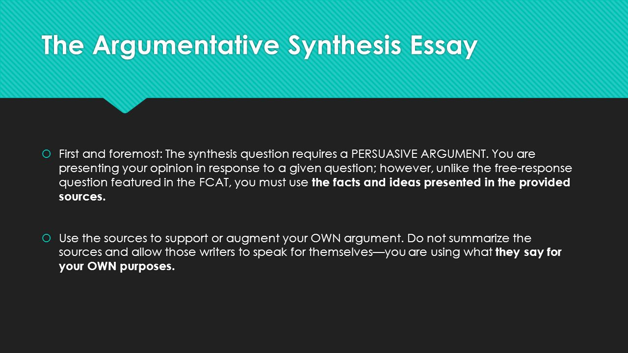 Argumentative Synthesis Essay