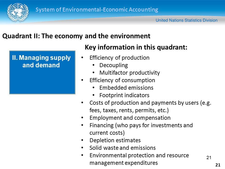 System of Environmental-Economic Accounting 21 Quadrant II: The economy and the environment Efficiency of production Decoupling Multifactor productivity Efficiency of consumption Embedded emissions Footprint indicators Costs of production and payments by users (e.g.