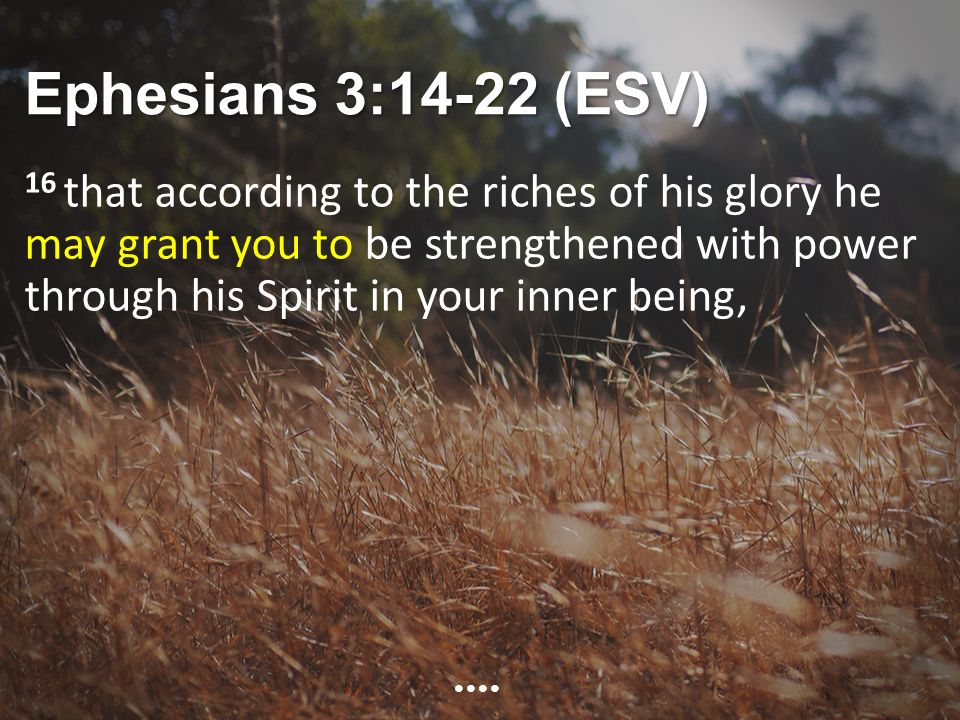 Ephesians 3:14-22 (ESV) 16 that according to the riches of his glory he may grant you to be strengthened with power through his Spirit in your inner being,