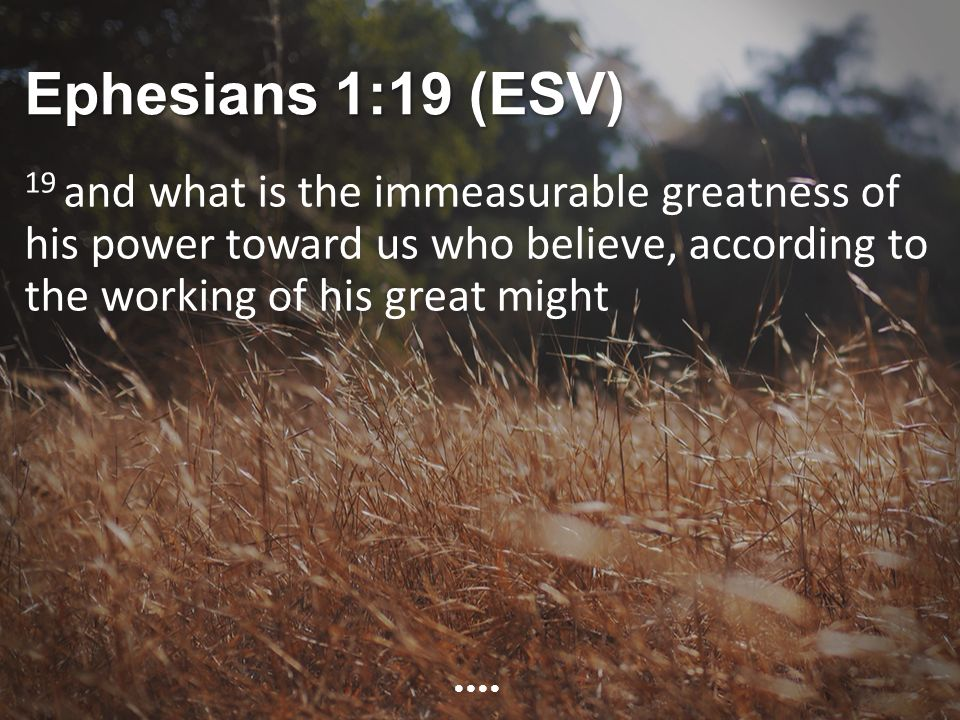 Ephesians 1:19 (ESV) 19 and what is the immeasurable greatness of his power toward us who believe, according to the working of his great might