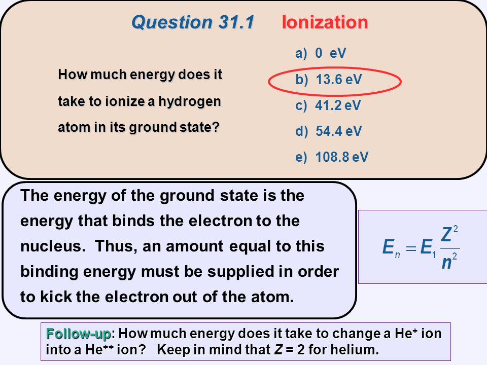 The energy of the ground state is the energy that binds the electron to the nucleus.