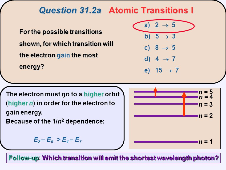 Question 31.2aAtomic Transitions I Question 31.2a Atomic Transitions I n = 1 n = 2 n = 3 n = 5 n = 4 a) 2  5 b) 5  3 c) 8  5 d) 4  7 e) 15  7 higher higher n The electron must go to a higher orbit (higher n) in order for the electron to gain energy.