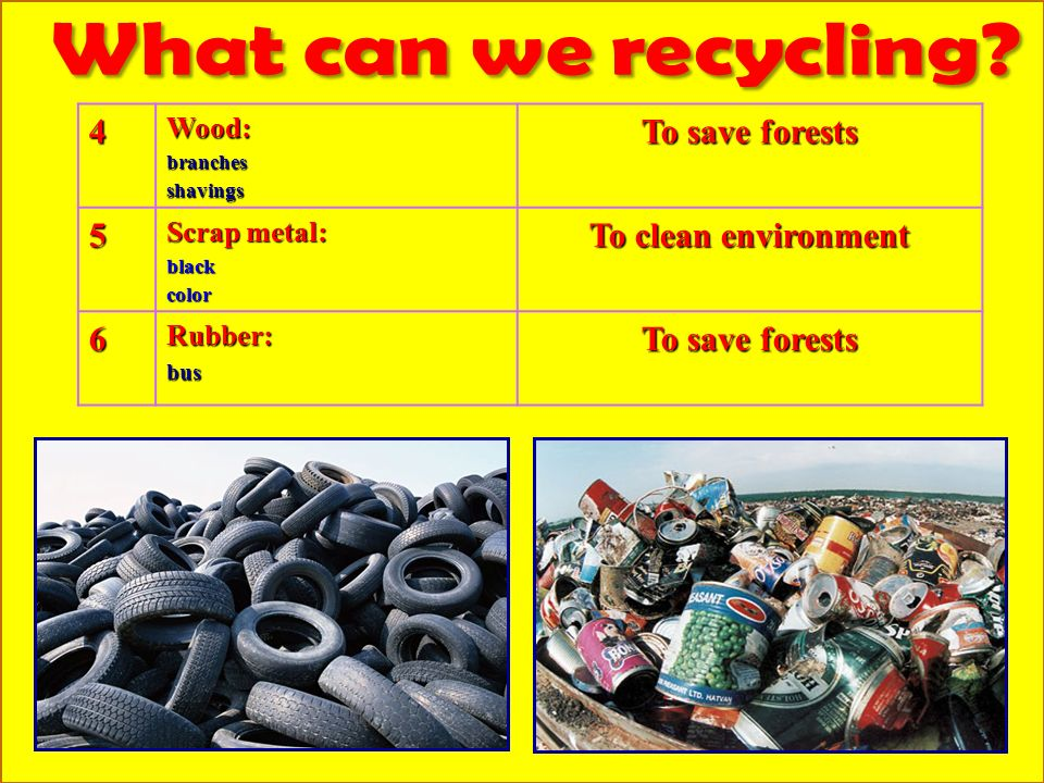 4Wood:branchesshavings To save forests 5 Scrap metal: blackcolor To clean environment 6Rubber:bus To save forests