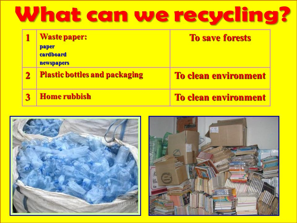 1 Waste paper: papercardboardnewspapers To save forests 2 Plastic bottles and packaging To clean environment 3 Home rubbish To clean environment