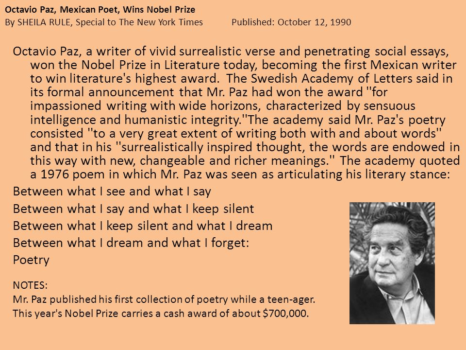unit two assignments south american literature octavio paz  octavio paz mexican poet wins nobel prize by sheila rule special to the