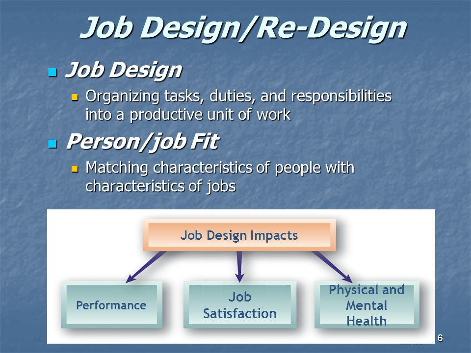 characteristics of job design One of the most important components of human resources management is job design or work design how the job characteristics model can help with job enrichment.