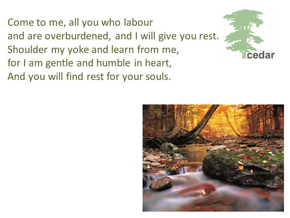 Come to me, all you who labour and are overburdened, and I will give you rest.