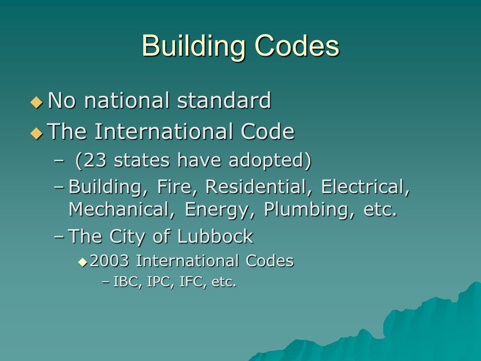 Building Codes. Codes  Building Code –Regional  BOCA, SBCCI ...