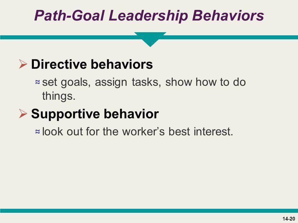 14-20 Path-Goal Leadership Behaviors  Directive behaviors ≈ set goals, assign tasks, show how to do things.