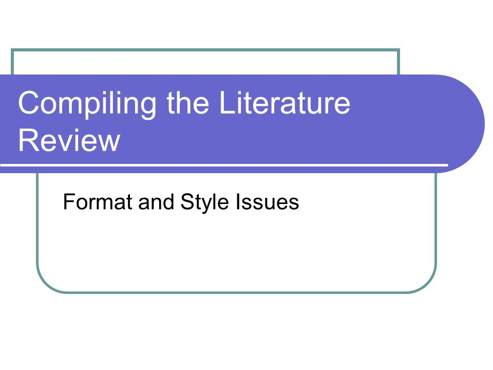 literature review format