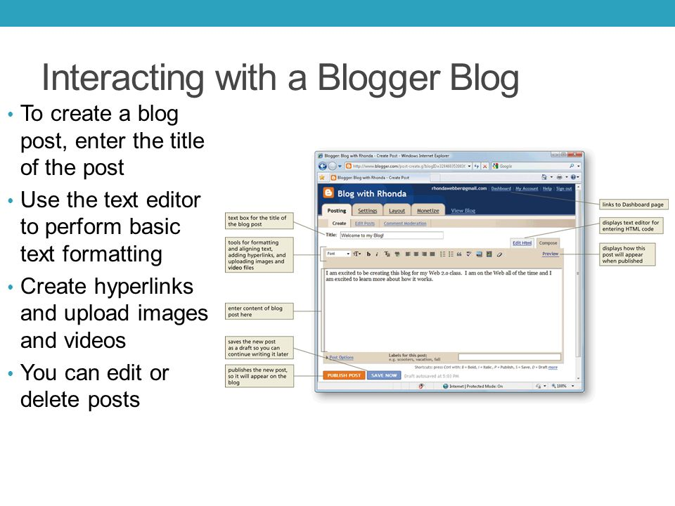 Interacting with a Blogger Blog To create a blog post, enter the title of the post Use the text editor to perform basic text formatting Create hyperlinks and upload images and videos You can edit or delete posts