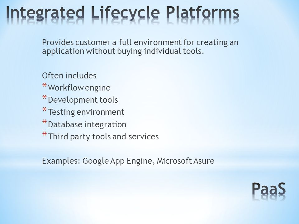 Provides customer a full environment for creating an application without buying individual tools.