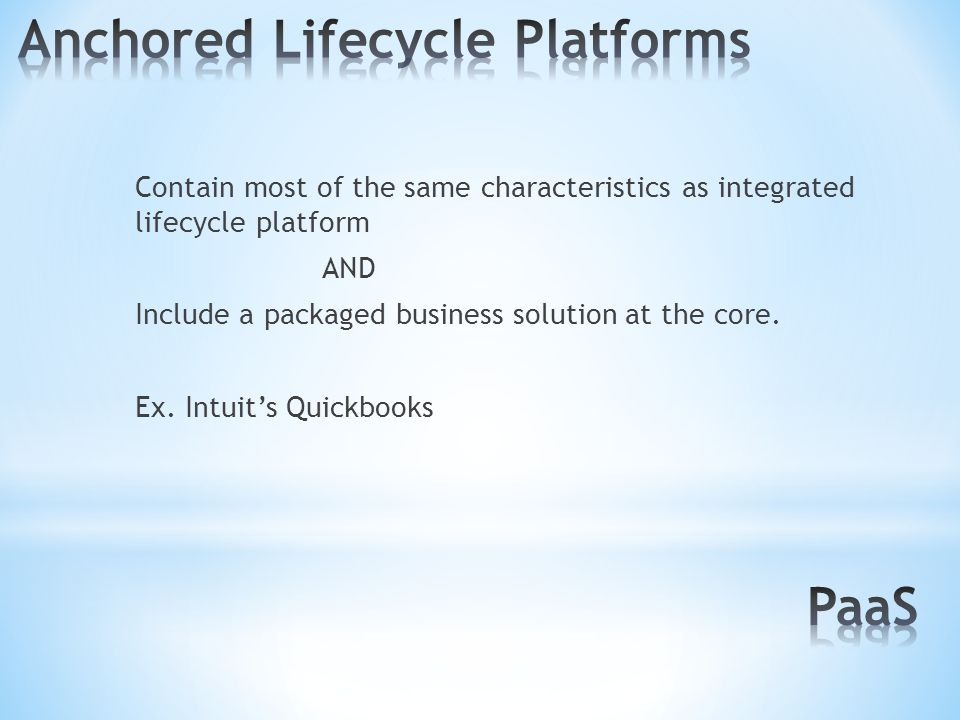 Contain most of the same characteristics as integrated lifecycle platform AND Include a packaged business solution at the core.