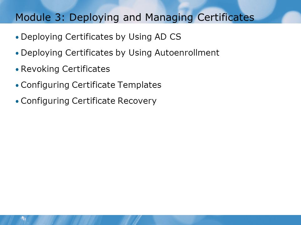 Configuring and troubleshooting identity and access solutions with deploying certificates by using ad cs deploying certificates by using autoenrollment revoking certificates configuring certificate templates configuring yadclub Images