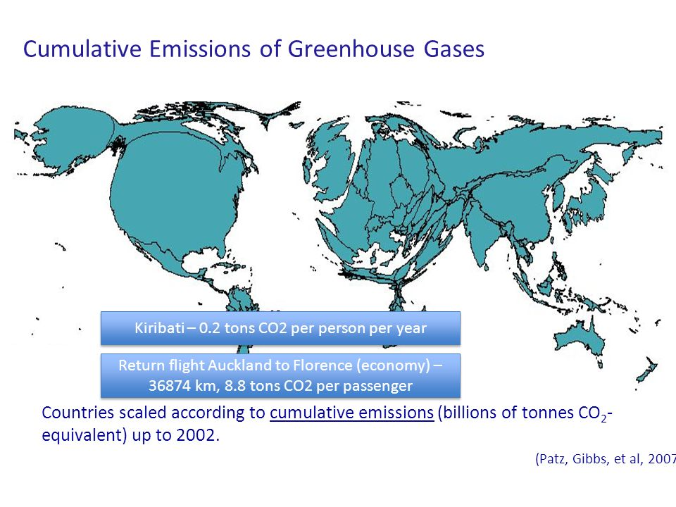 Cumulative Emissions of Greenhouse Gases Countries scaled according to cumulative emissions (billions of tonnes CO 2 - equivalent) up to 2002.