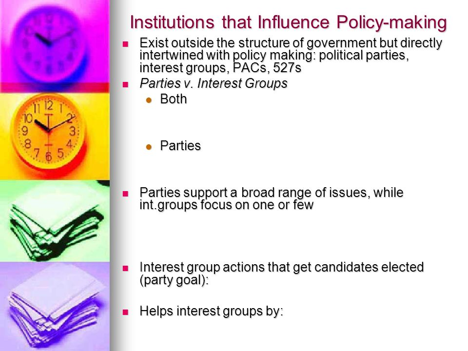 Institutions that Influence Policy-making Exist outside the structure of government but directly intertwined with policy making: political parties, interest groups, PACs, 527s Exist outside the structure of government but directly intertwined with policy making: political parties, interest groups, PACs, 527s Parties v.