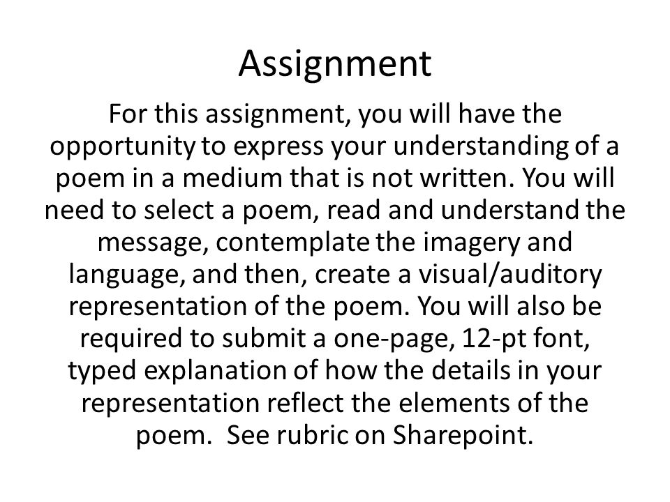 What poet should I choose for this assignment?