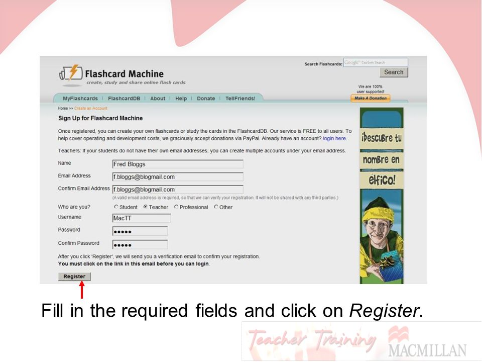 Fill in the required fields and click on Register.