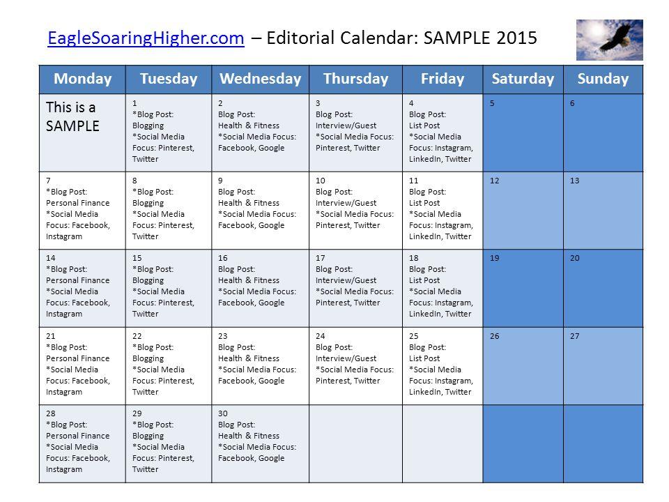 EaglesoaringhigherComeaglesoaringhigherCom  Editorial Calendar