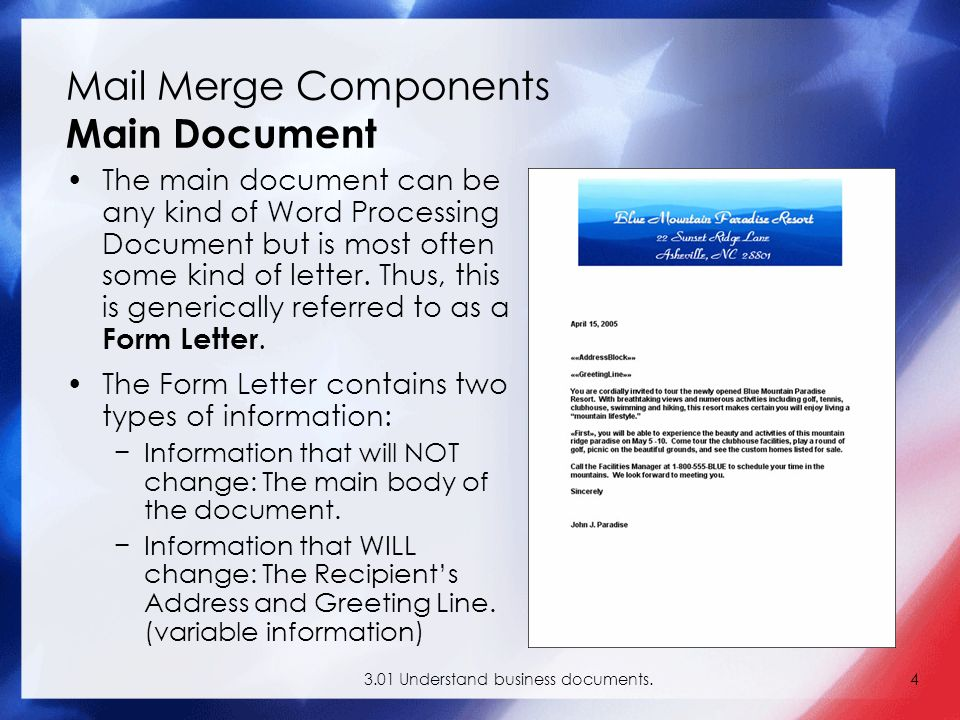 Word processing notes mail merge understand business documents2 301 understand business documents4 mail merge components main document the main document can be altavistaventures Images