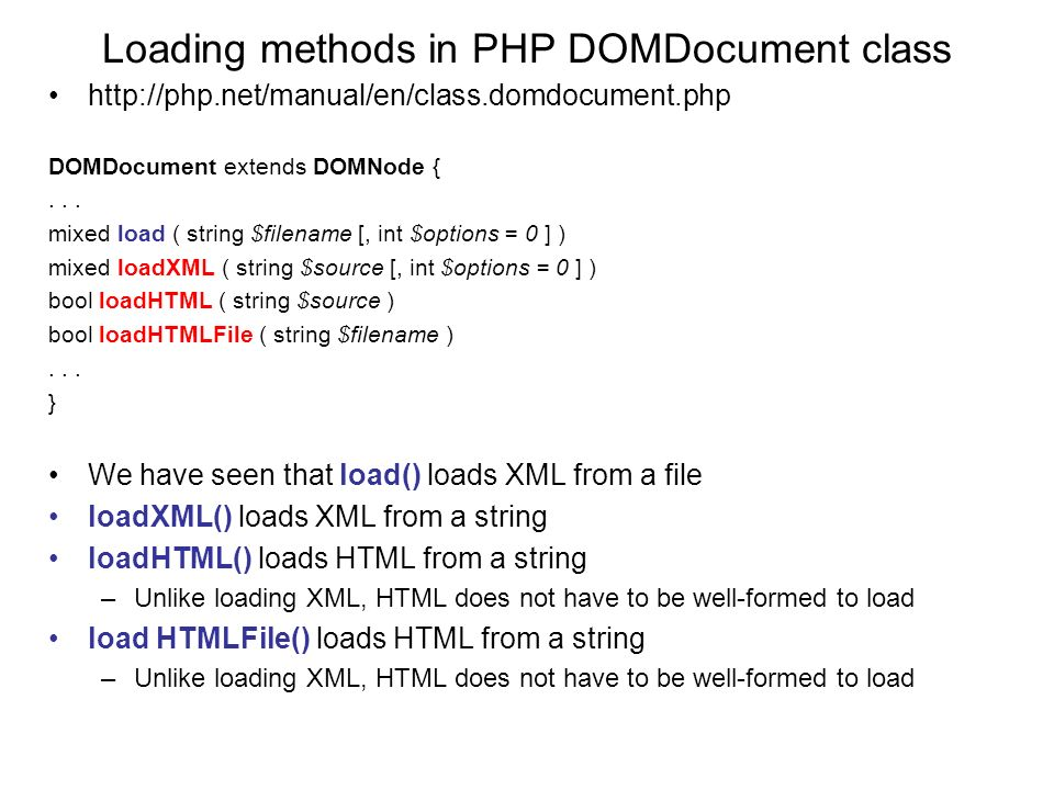 php domdocument