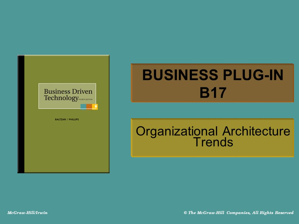 McGraw-Hill/Irwin © The McGraw-Hill Companies, All Rights Reserved BUSINESS PLUG-IN B17 Organizational Architecture Trends