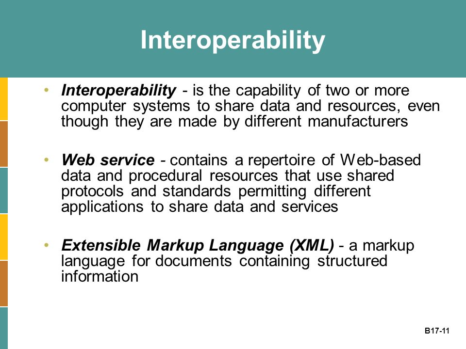 B17-11 Interoperability Interoperability - is the capability of two or more computer systems to share data and resources, even though they are made by different manufacturers Web service - contains a repertoire of Web-based data and procedural resources that use shared protocols and standards permitting different applications to share data and services Extensible Markup Language (XML) - a markup language for documents containing structured information