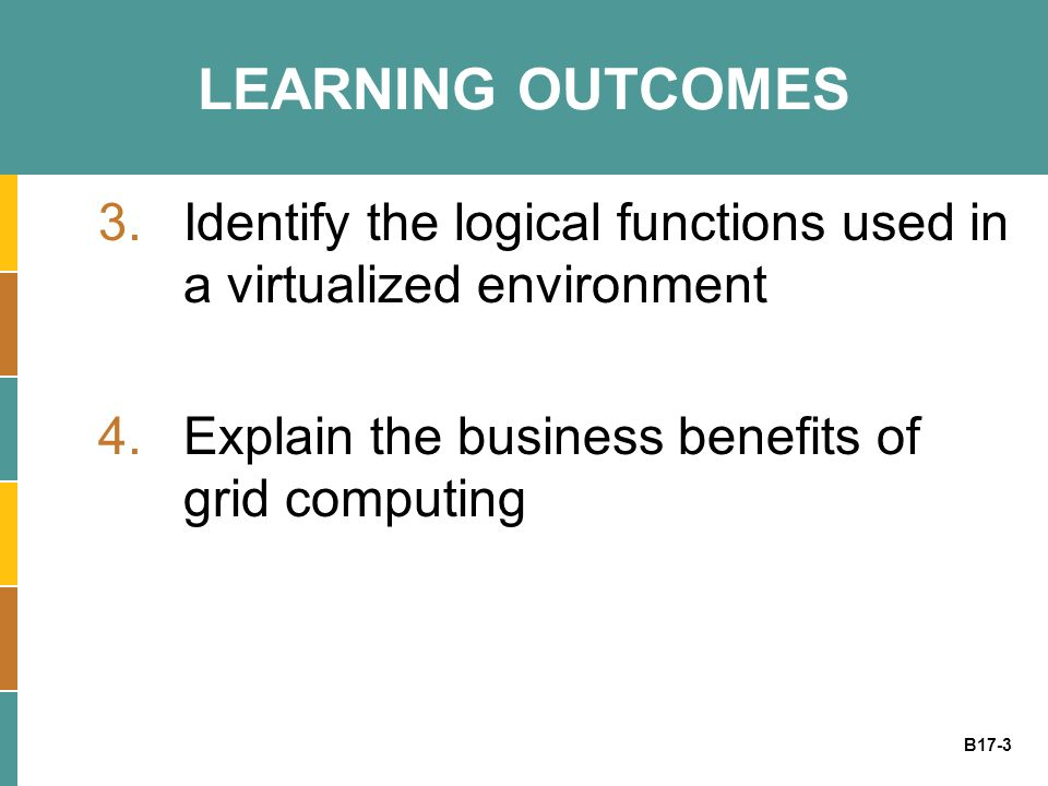 B17-3 LEARNING OUTCOMES 3.Identify the logical functions used in a virtualized environment 4.Explain the business benefits of grid computing
