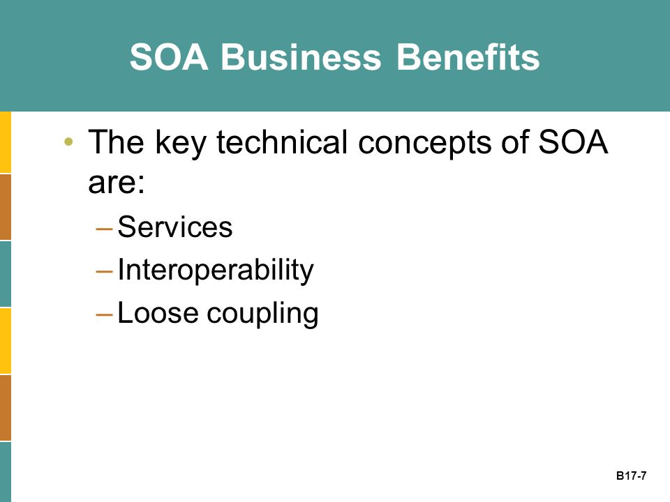 B17-7 SOA Business Benefits The key technical concepts of SOA are: –Services –Interoperability –Loose coupling