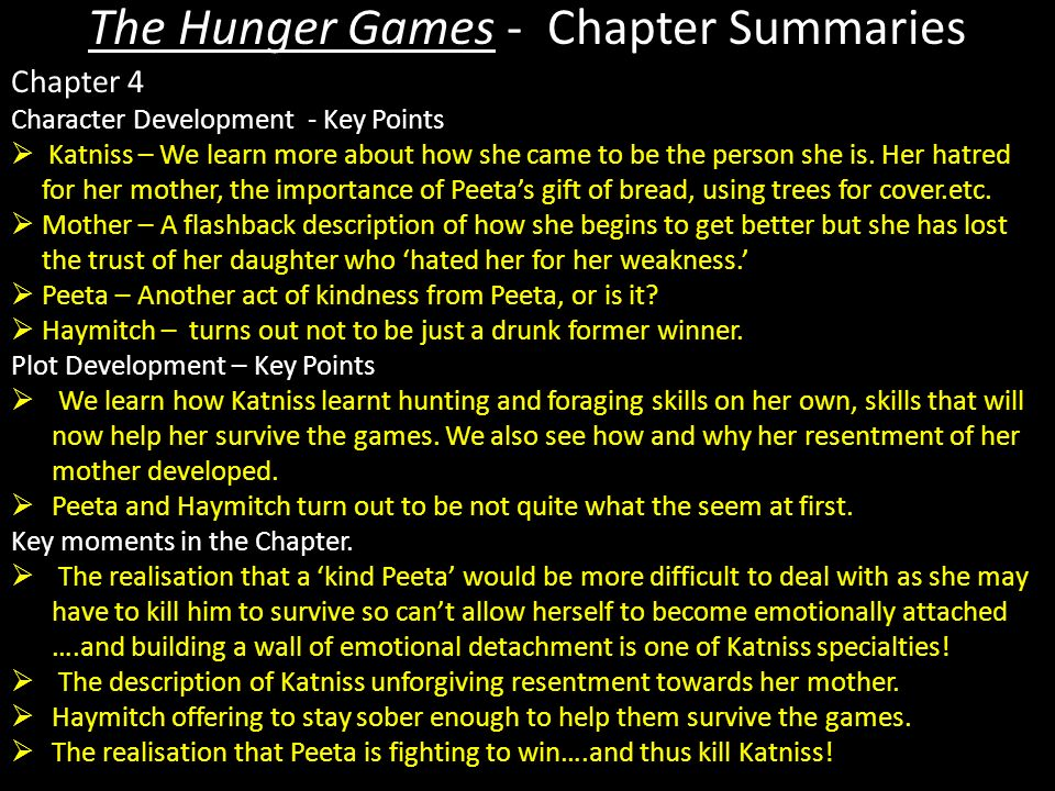 hunger games summary The hunger games begins on the day of the reaping in district 12 katniss everdeen, the story's 16-year-old narrator, sets out to meet her friend gale so t.