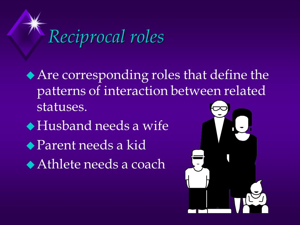 Reciprocal roles u Are corresponding roles that define the patterns of interaction between related statuses.