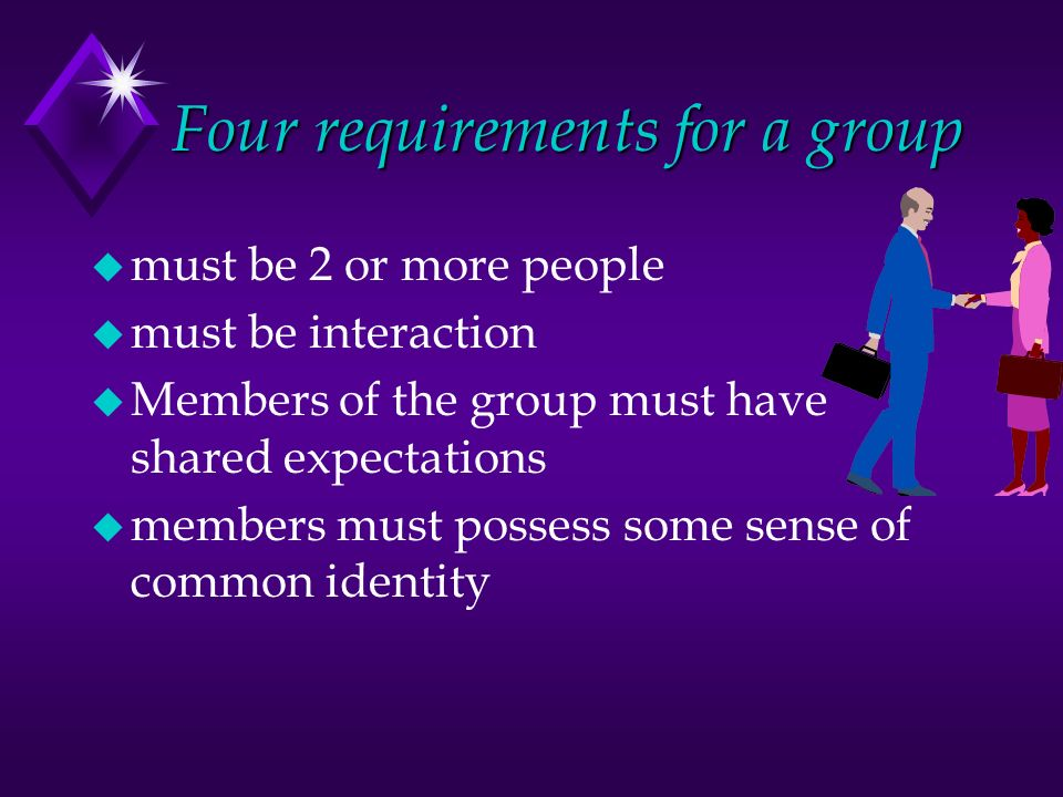 Four requirements for a group u must be 2 or more people u must be interaction u Members of the group must have shared expectations u members must possess some sense of common identity