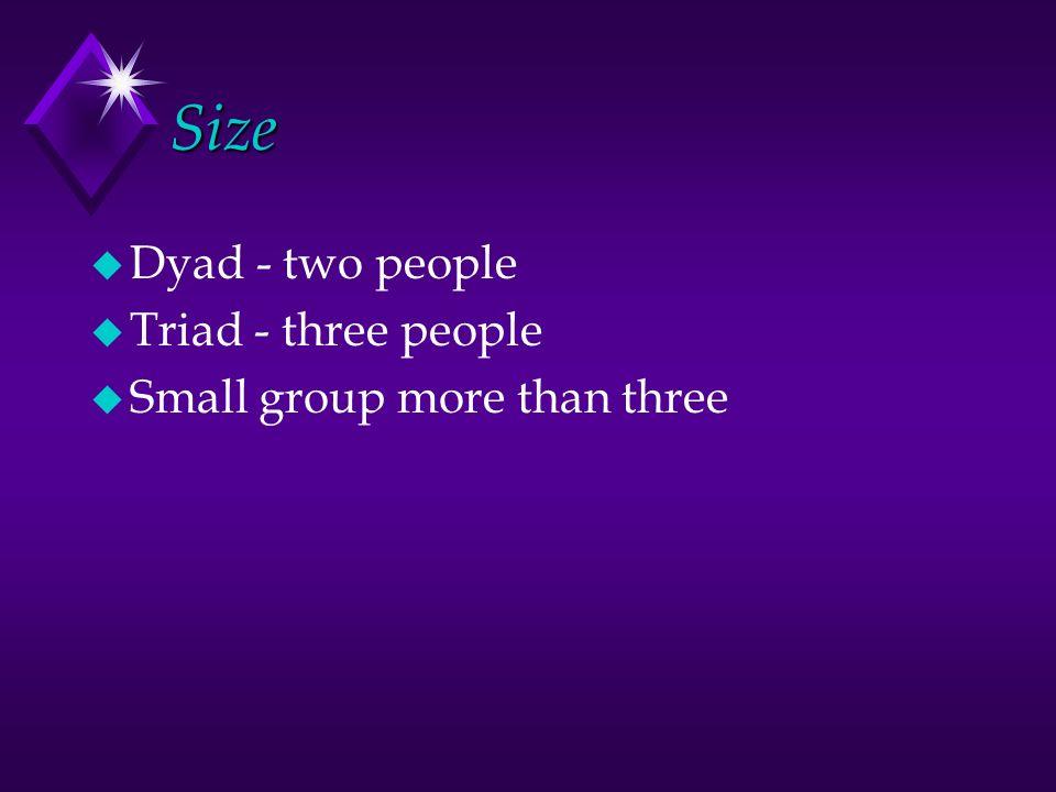 Size u Dyad - two people u Triad - three people u Small group more than three