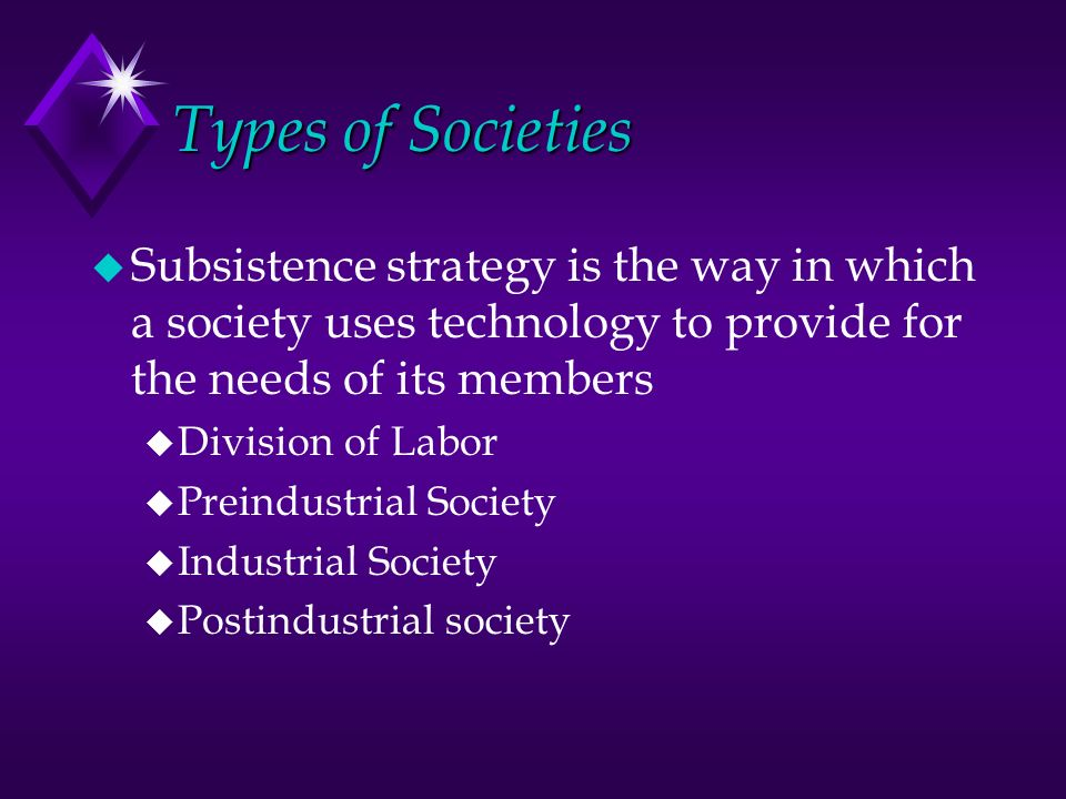 Types of Societies u Subsistence strategy is the way in which a society uses technology to provide for the needs of its members u Division of Labor u Preindustrial Society u Industrial Society u Postindustrial society