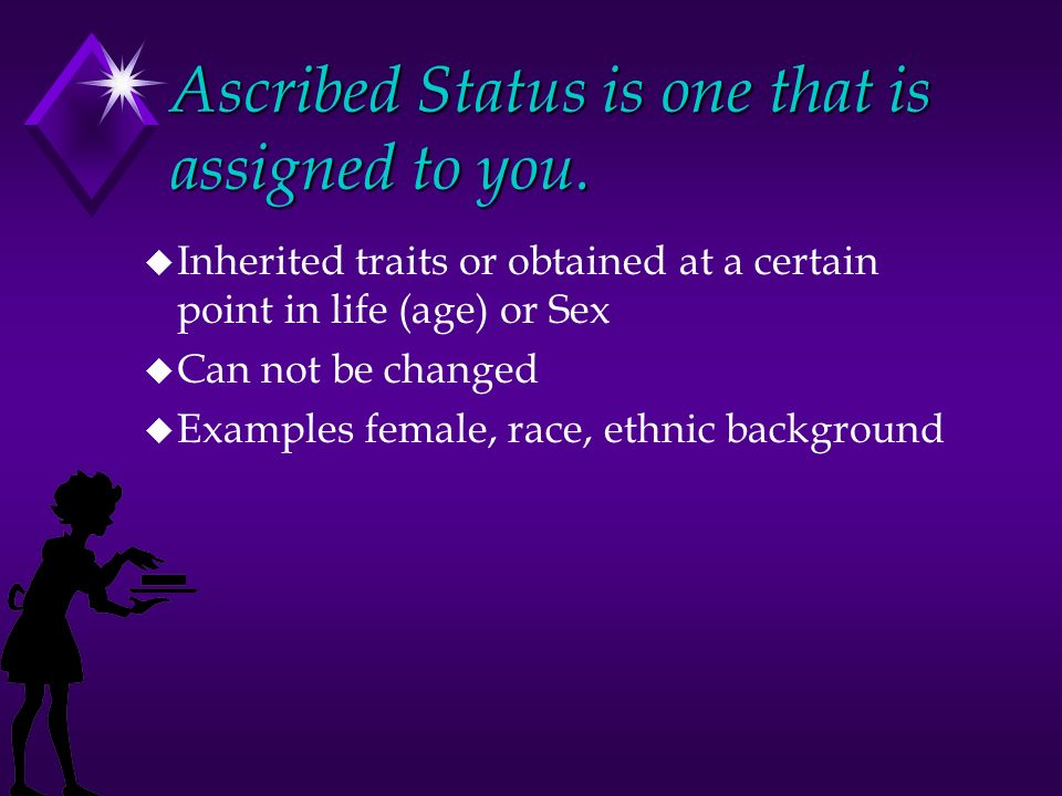 Ascribed Status is one that is assigned to you.