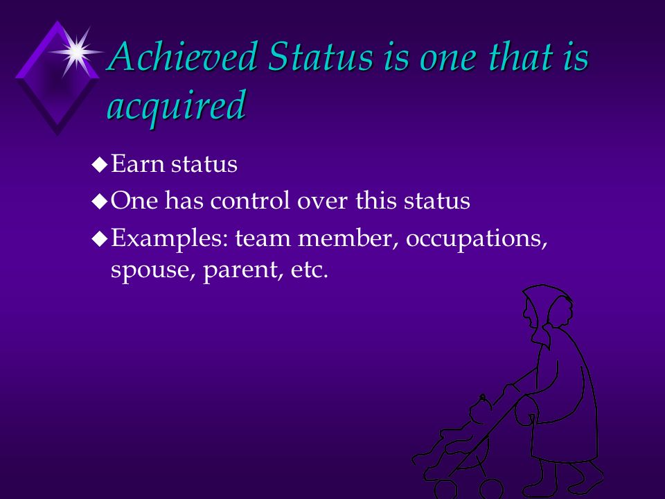 Achieved Status is one that is acquired u Earn status u One has control over this status u Examples: team member, occupations, spouse, parent, etc.