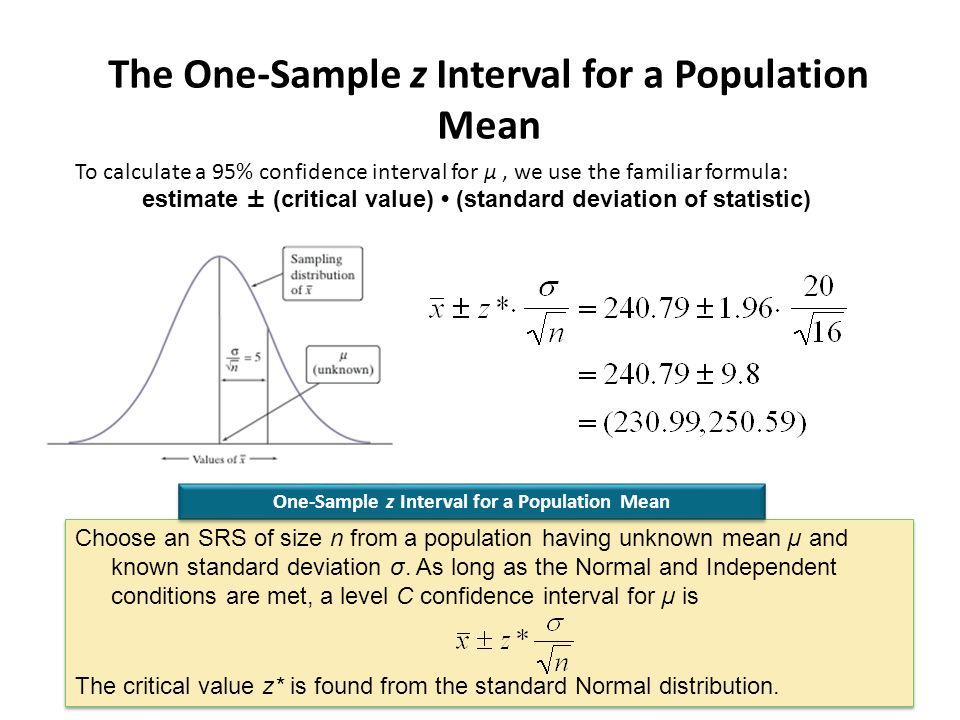 Section 83 estimating a population mean section 83 estimating a the one sample z interval for a population mean to calculate a 95 confidence ccuart Images