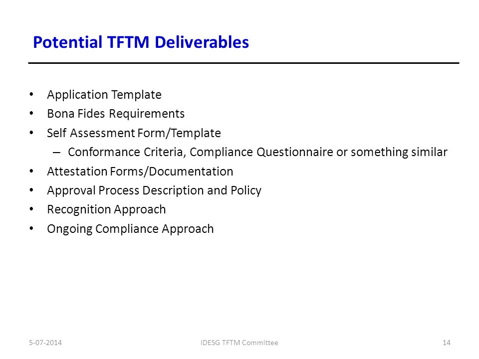 Tftm Deliverable Self Assessment And Attestation Program