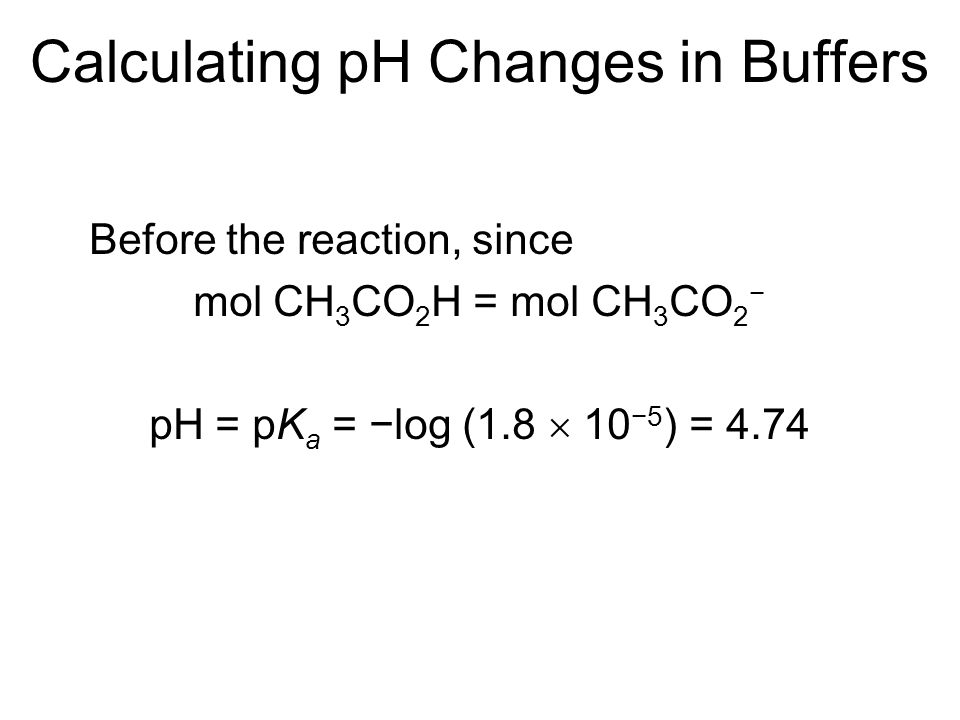 Calculating pH Changes in Buffers Before the reaction, since mol CH 3 CO 2 H = mol CH 3 CO 2 − pH = pK a = −log (1.8  10 −5 ) = 4.74