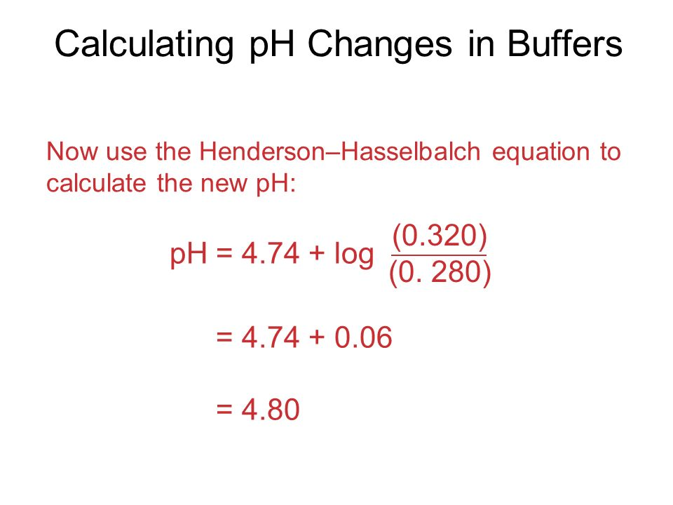 Calculating pH Changes in Buffers Now use the Henderson–Hasselbalch equation to calculate the new pH: pH = log (0.320) (0.