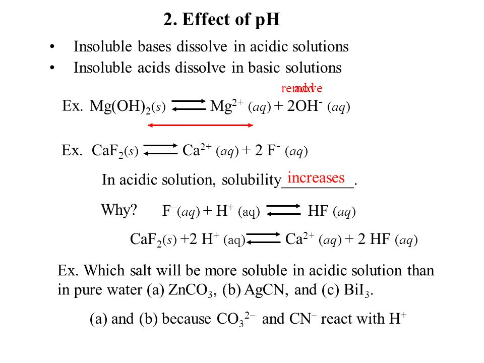 C. Factors affecting solubility 1.Common ion effect: common ion decreases the solubility.