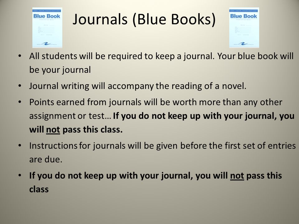 Journals (Blue Books) All students will be required to keep a journal.
