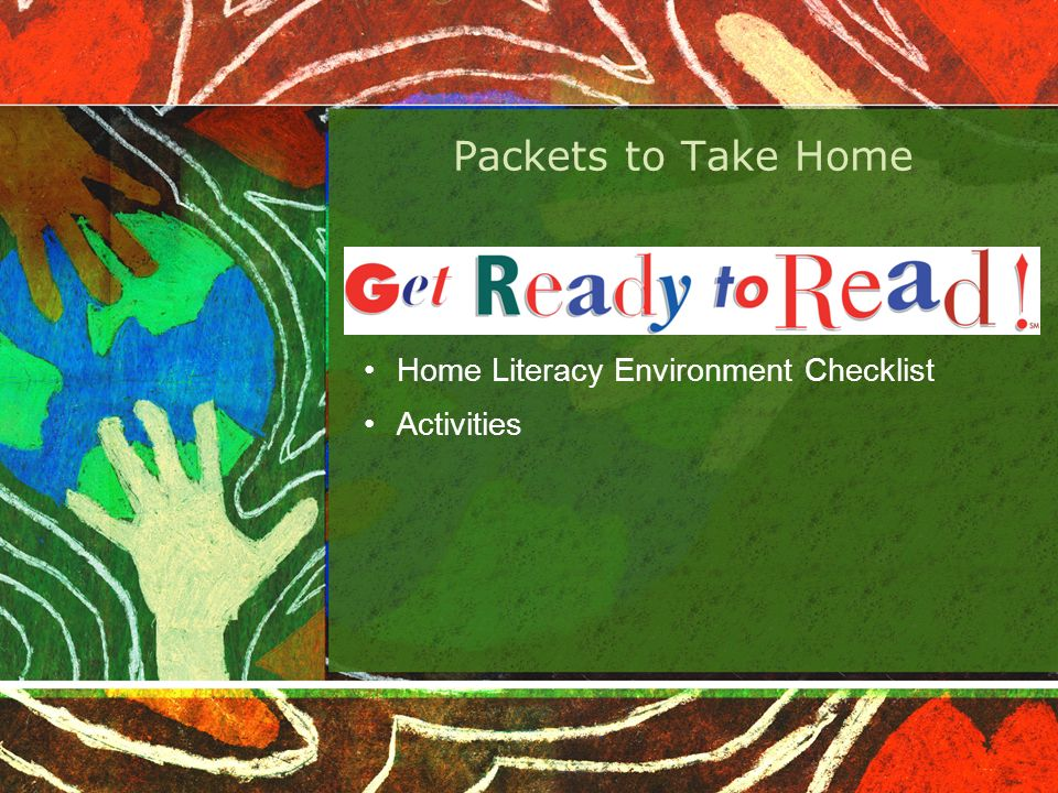 Packets to Take Home Home Literacy Environment Checklist Activities