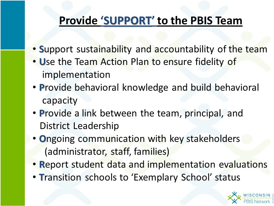 SUPPORT Provide 'SUPPORT' to the PBIS Team S Support sustainability and accountability of the team U Use the Team Action Plan to ensure fidelity of implementation P Provide behavioral knowledge and build behavioral capacity P Provide a link between the team, principal, and District Leadership O Ongoing communication with key stakeholders (administrator, staff, families) R Report student data and implementation evaluations T Transition schools to 'Exemplary School' status