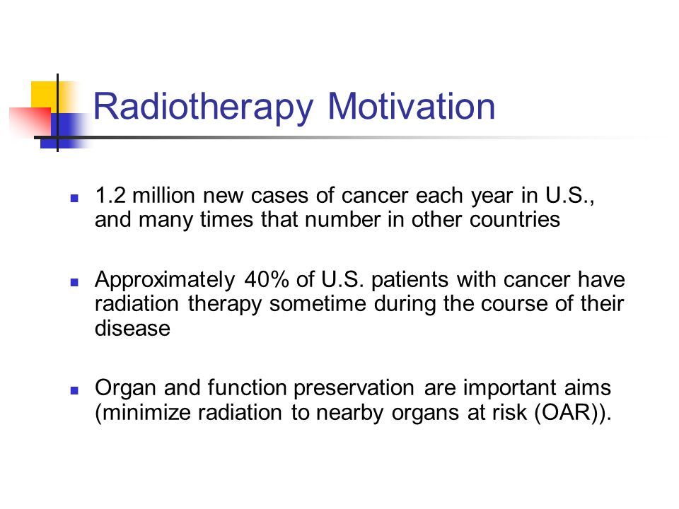 Radiotherapy Motivation 1 2 Million New Cases Of Cancer Each Year In U S And Many Times