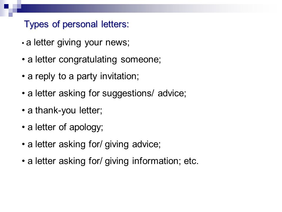 A personal letter the goal of the lesson the acquaintance with 5 types thecheapjerseys Image collections