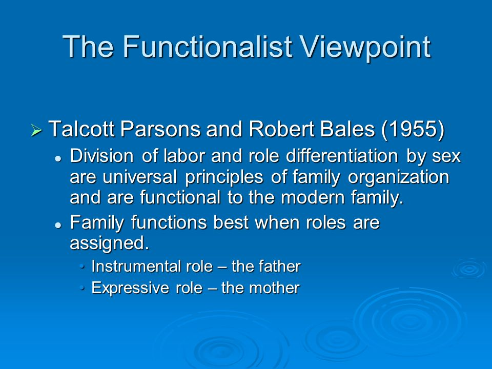 The Functionalist Viewpoint  Talcott Parsons and Robert Bales (1955) Division of labor and role differentiation by sex are universal principles of family organization and are functional to the modern family.